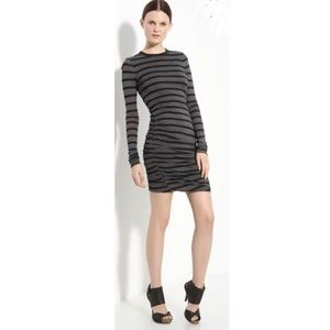 A.L.C. Striped ruched dress M